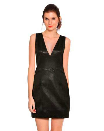 leather-fitted-v-neck-shift-dress-front-3