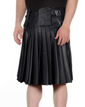 BLACK-PLEATED-LEATHER-KILT-WITH-SIDE-ADJUSTABLE-BUCKLED-TABS-front-2