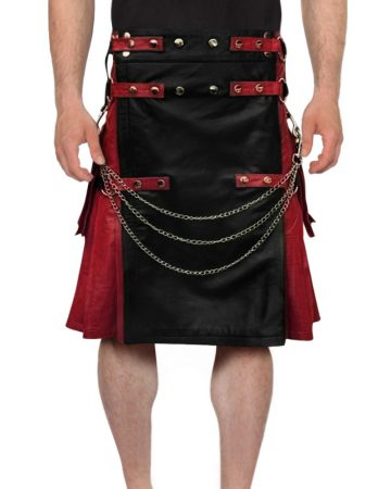 BLACKRED-STUDDED-LEATHER-KILT-front-2