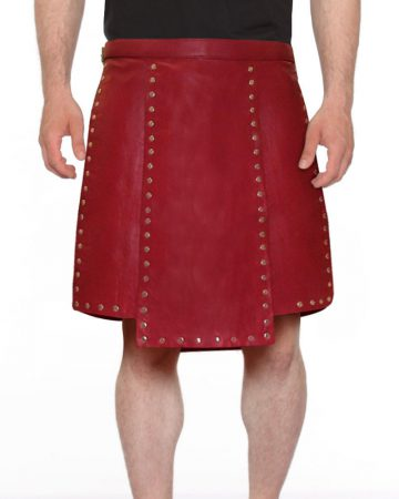 RED-STUDDED-LEATHER-KILT-WITH-SIDE-BUCKLED-TABS-front-2