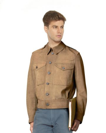 SHORT-OLIVE-GREEN-SUEDE-JACKET-WITH-LARGE-FLAP-POCKETS-front-1