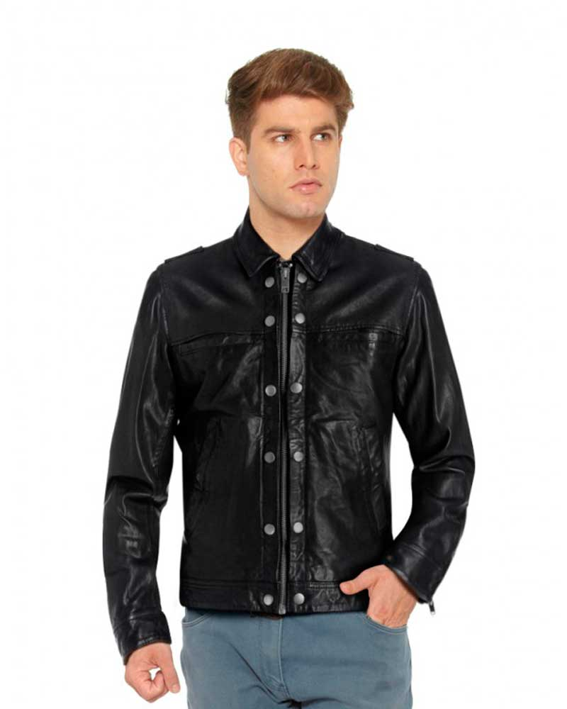 SHIRT-STYLE-BLACK-LEATHER-JACKET-WITH-SHOULDER-EPAULETTES-front-e1441441974445-1
