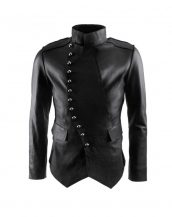BLACK-MILTARY-INSPIRED-LEATHER-JACKET-WITH-ASSYMETRICAL-BUTTON-PLACKET-front-e1444390230795-1