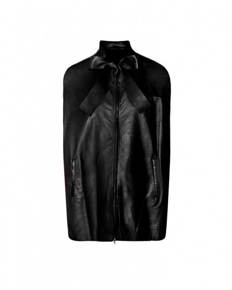 Womens Black Leather Jacket With Bow Tie Custom Leather Store
