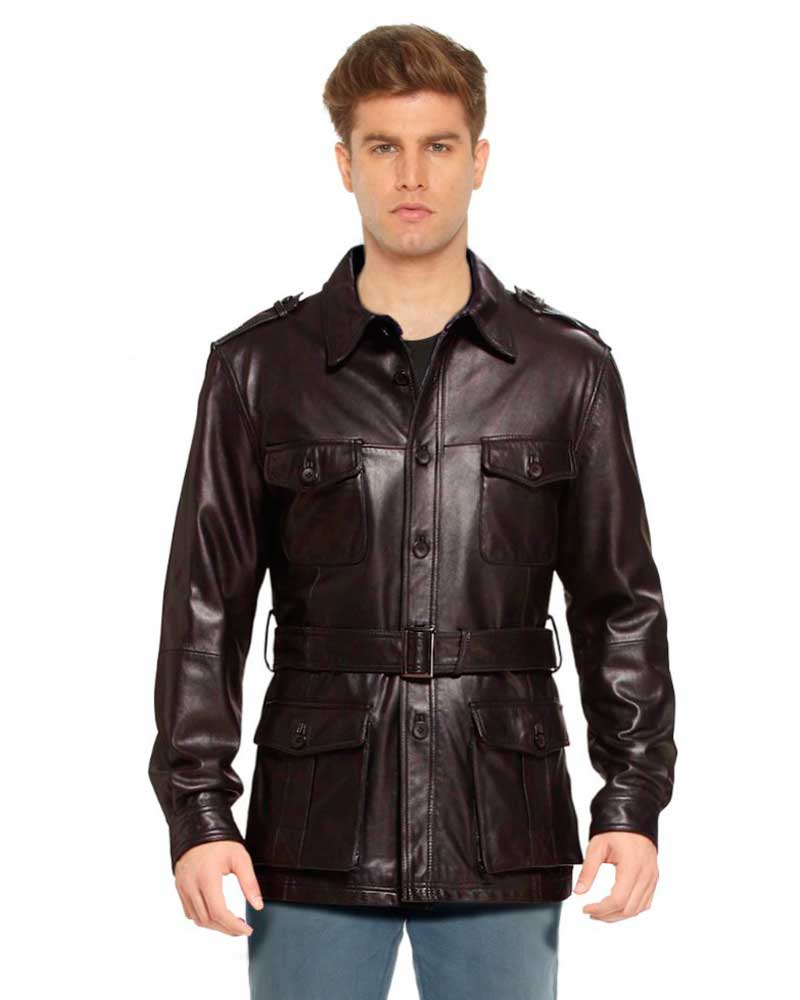 Military Style Leather Trench Coat for Men - LeatherRight