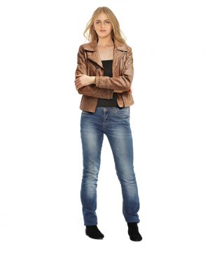 Stylish Camel Short Leather Jacket for Women