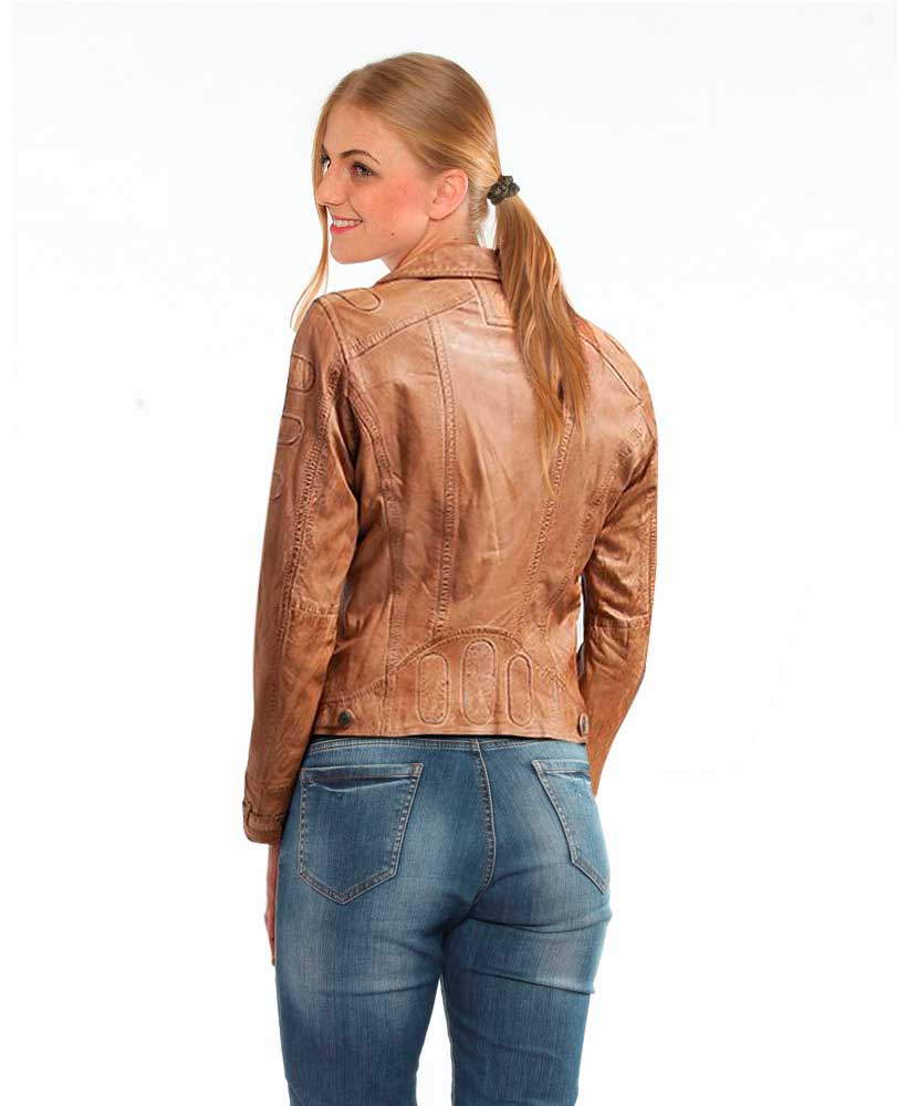 hot-selling discount dependable performance half off Stylish Camel Short Leather Jacket for Women