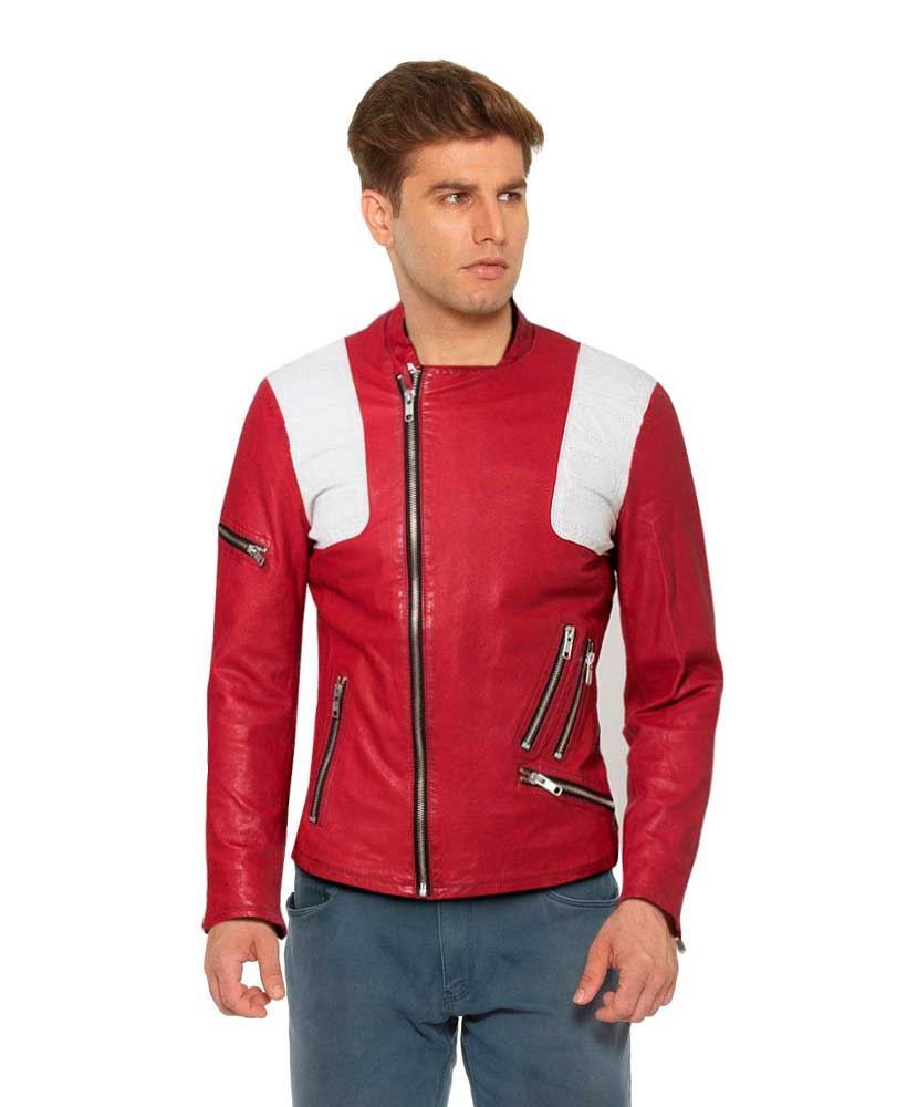 Mens Red Leather Biker Jacket with White Panels 1