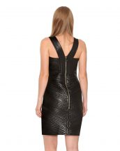 Pretty Quilted Leather Dress for Women with V Neck Wide Straps