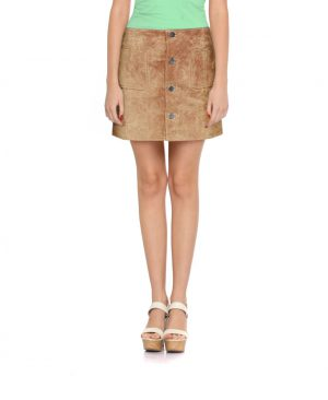 Womens Sultry Suede Mini Skirt with Buttoned Placket
