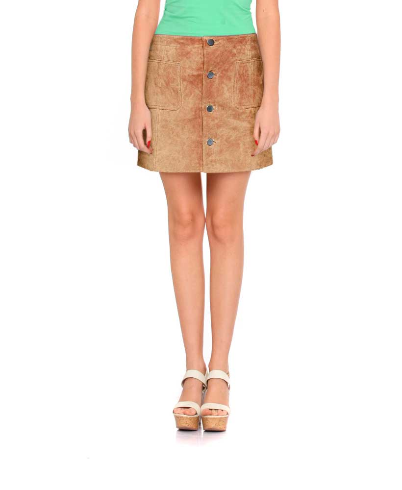 Womens Sultry Suede Mini Skirt with Buttoned Placket 1