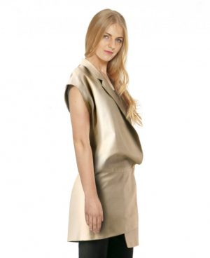Womens Asymmetric Drop Sleeve Leather Blazer