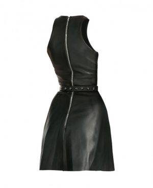 Womens Halloween Leather Dress with Front Keyhole Waist