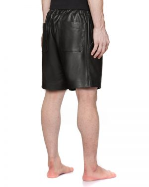 Mens Black Leather Shorts with Elasticated Waistline