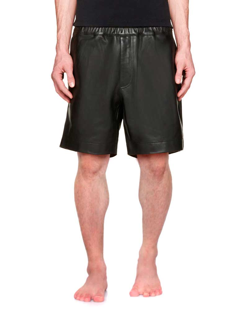 Mens Black Leather Shorts with Elasticated Waistline 1