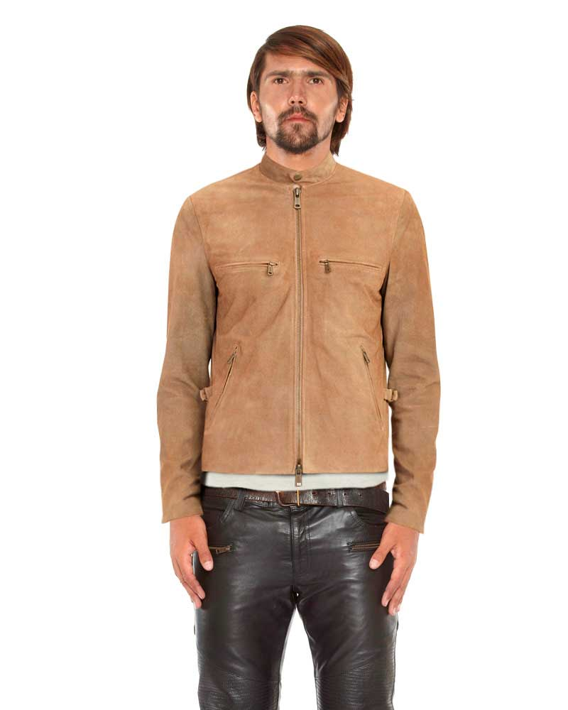 Mens Beige Suede Biker Jacket with D Ring Tabs 1