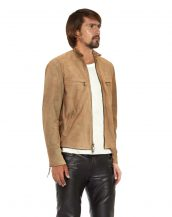 Mens Beige Suede Biker Jacket with D Ring Tabs