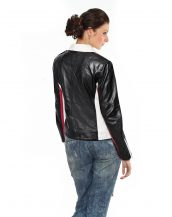 Color blocked stripe leather biker jacket