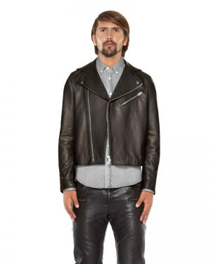 Elegant Mens Lambskin Leather Biker Jacket with Suede Panel