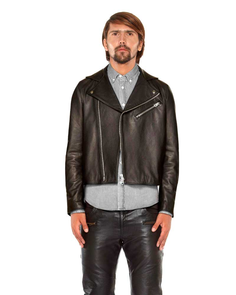 Elegant Mens Lambskin Leather Biker Jacket with Suede Panel 1