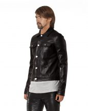 Mens Black Denim Style Leather Jacket with Button Up Placket