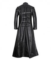 Black Leather Gothic Trench Coat with Buckle Fastenings