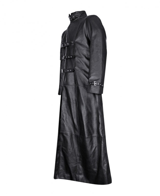 Black Leather Gothic Trench Coat for Mens at LeatherRight