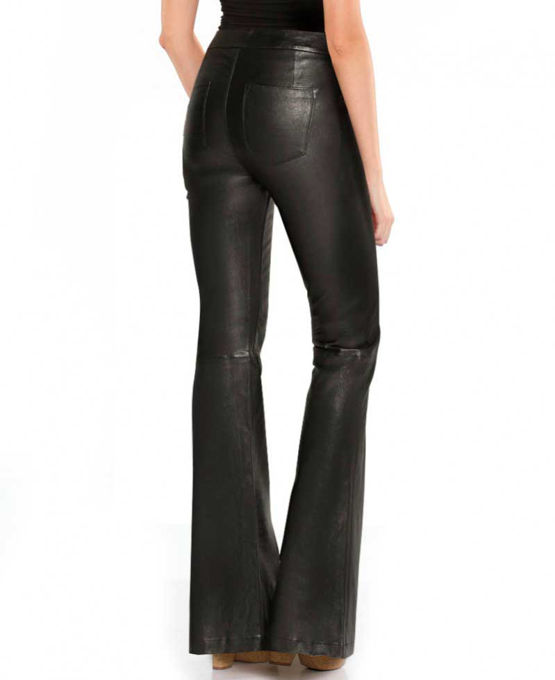 224719f8aaf86 Womens Black High Waist Flared Leather Pants – Custom Leather Store ...