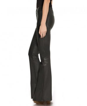 Womens Black High Waisted Flared Leather Pants