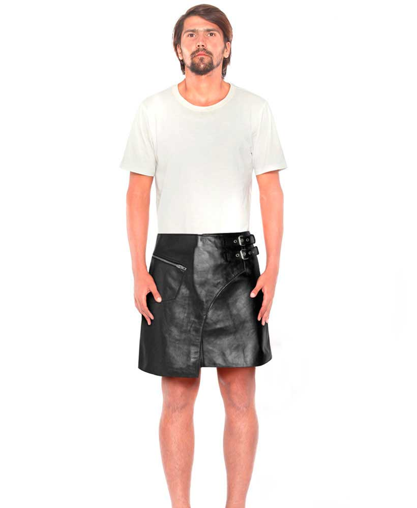 Stylish Mens Black Leather Kilt With Side Buckle Tabs