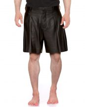 Mens Black Leather Shorts with Pleat front