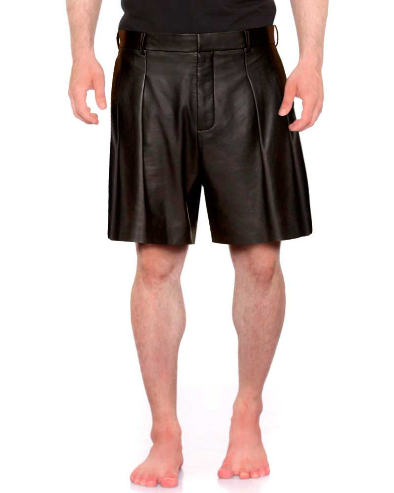 Mens Black Leather Shorts with Pleat front 1