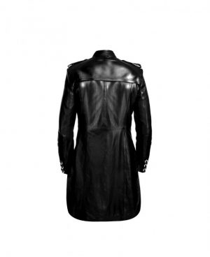 Mens Black Military Style Leather Tailcoat