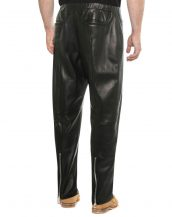 Mens Black Lambskin Leather Jogger Pants with Ankle Zipper Detail