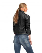 Asymmetrical Zip Leather Jacket for Women