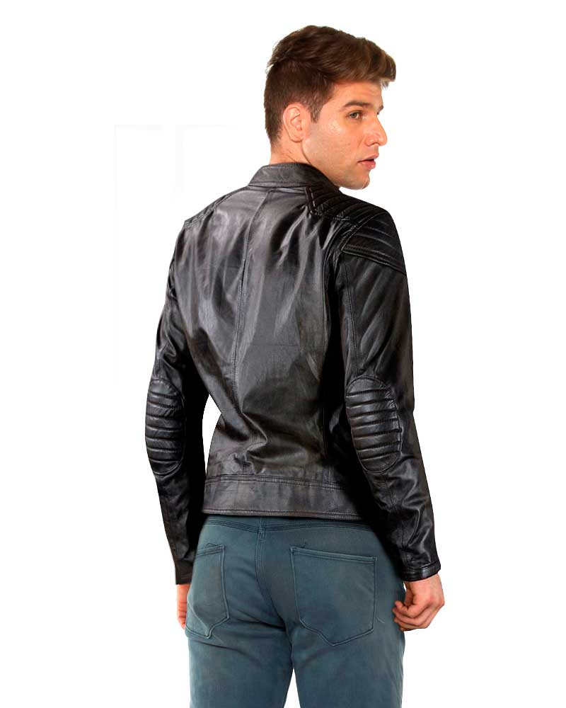 Classy Slim Fit Black Leather Moto Jacket Custom Leather Store