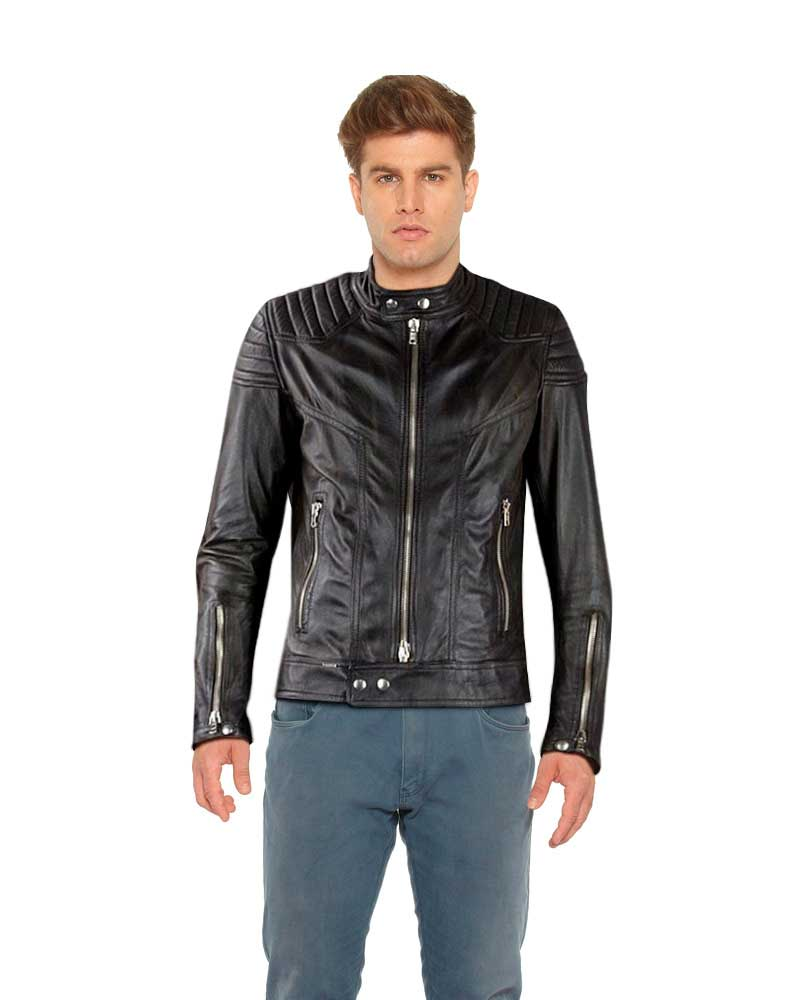 Classy Slim Fit Black Leather Moto Jacket 1