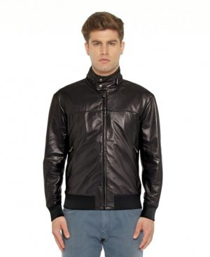 Black Leather Bomber Jacket with Zippered Collar