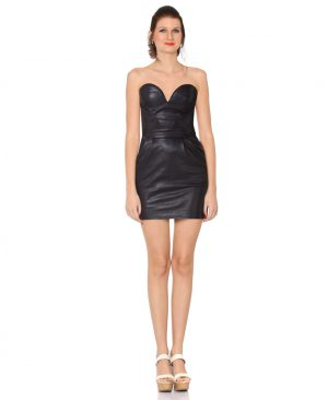 Beautiful Black Leather Bustier dress for Women with Knife Pleats