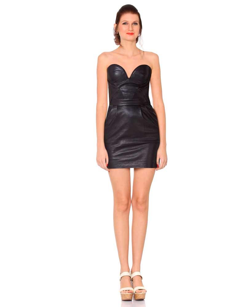 Black Leather Bustier Dress