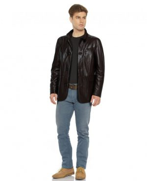Mens Black Leather Coat with Flap Patch Pockets