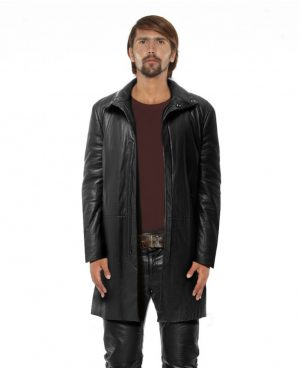 Black Leather Coat for Men with Funnel Neck