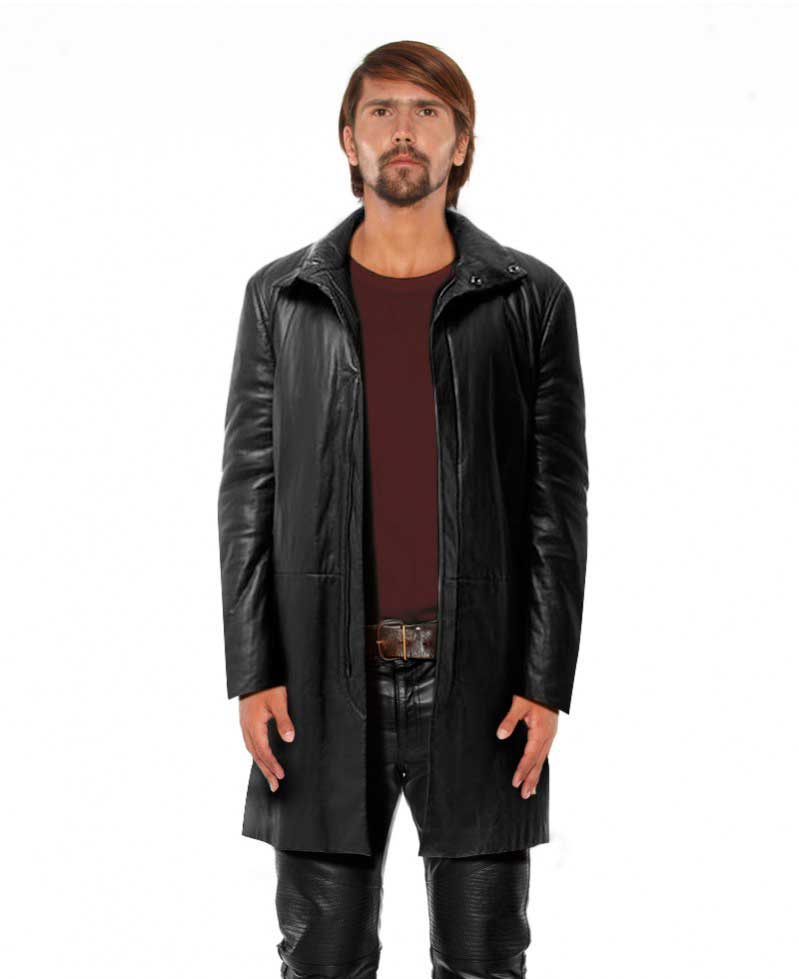 Black Leather Coat for Men with Funnel Neck 1