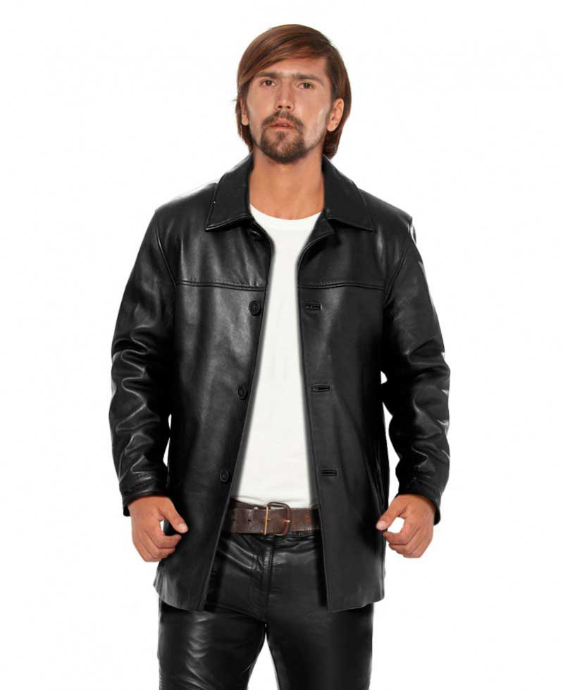 Classy Black Leather Coat for Men with Polo Collar 1