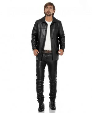 Classy Black Leather Coat for Men with Polo Collar