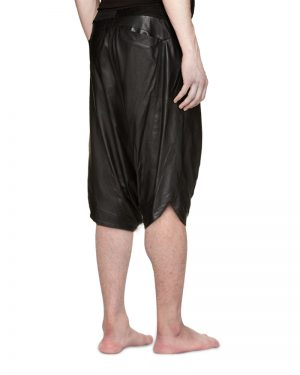 Mens Black Leather Shorts with Drop Crotch