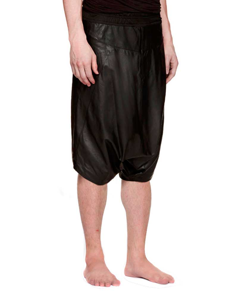 Mens Black Leather Shorts with Drop Crotch 1