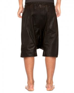 Mens Black Leather Shorts with Adjustable Drawstring