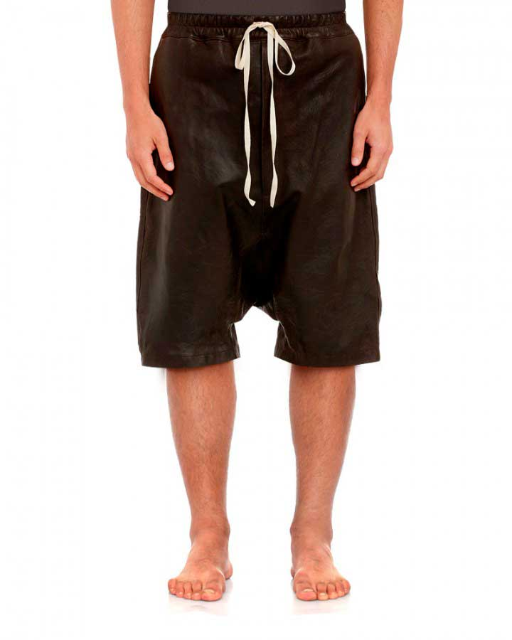 Mens Black Leather Shorts with Adjustable Drawstring 1