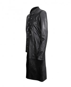 Classic Black Leather Coat with Buttoned Tabs